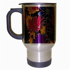Colorful Floral Pattern Background Travel Mug (Silver Gray)