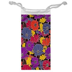 Colorful Floral Pattern Background Jewelry Bag