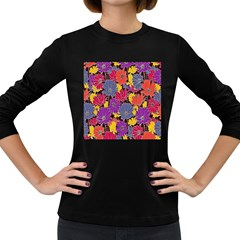 Colorful Floral Pattern Background Women s Long Sleeve Dark T Shirts