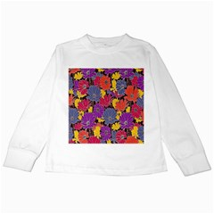 Colorful Floral Pattern Background Kids Long Sleeve T-Shirts