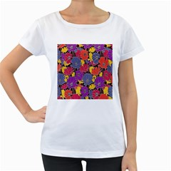 Colorful Floral Pattern Background Women s Loose Fit T Shirt (white)