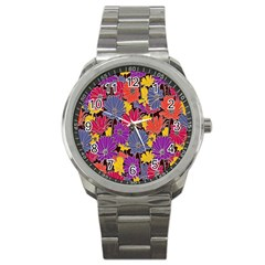 Colorful Floral Pattern Background Sport Metal Watch