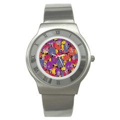 Colorful Floral Pattern Background Stainless Steel Watch