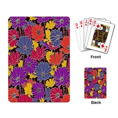 Colorful Floral Pattern Background Playing Card