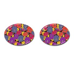 Colorful Floral Pattern Background Cufflinks (oval)