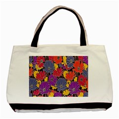 Colorful Floral Pattern Background Basic Tote Bag