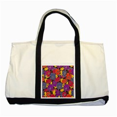 Colorful Floral Pattern Background Two Tone Tote Bag