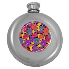 Colorful Floral Pattern Background Round Hip Flask (5 Oz)