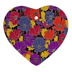 Colorful Floral Pattern Background Heart Ornament (Two Sides)