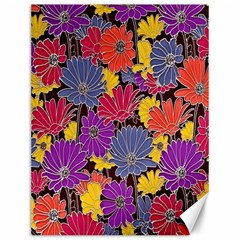 Colorful Floral Pattern Background Canvas 12  X 16