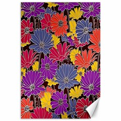 Colorful Floral Pattern Background Canvas 12  X 18