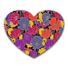 Colorful Floral Pattern Background Heart Mousepads
