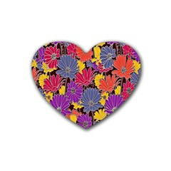 Colorful Floral Pattern Background Heart Coaster (4 pack)