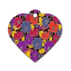 Colorful Floral Pattern Background Dog Tag Heart (Two Sides)