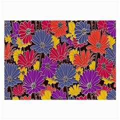 Colorful Floral Pattern Background Large Glasses Cloth (2-Side)