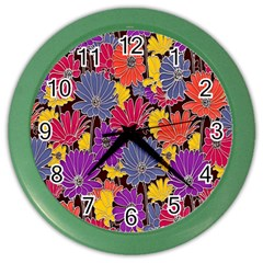 Colorful Floral Pattern Background Color Wall Clocks