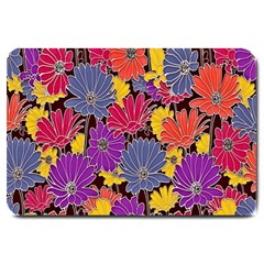 Colorful Floral Pattern Background Large Doormat