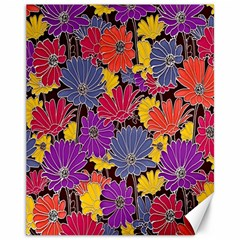 Colorful Floral Pattern Background Canvas 11  X 14
