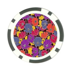 Colorful Floral Pattern Background Poker Chip Card Guard