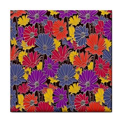 Colorful Floral Pattern Background Face Towel