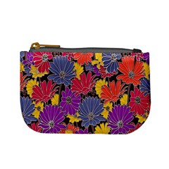 Colorful Floral Pattern Background Mini Coin Purses