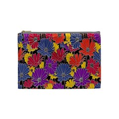 Colorful Floral Pattern Background Cosmetic Bag (Medium)