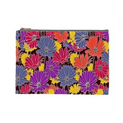 Colorful Floral Pattern Background Cosmetic Bag (large)