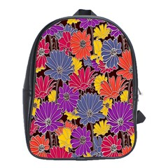 Colorful Floral Pattern Background School Bags(Large)