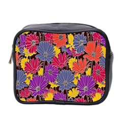Colorful Floral Pattern Background Mini Toiletries Bag 2 Side