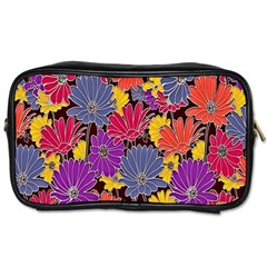 Colorful Floral Pattern Background Toiletries Bags