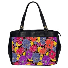 Colorful Floral Pattern Background Office Handbags (2 Sides)