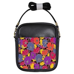 Colorful Floral Pattern Background Girls Sling Bags