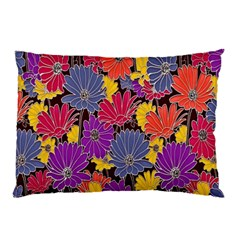 Colorful Floral Pattern Background Pillow Case (Two Sides)