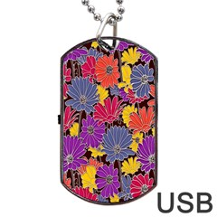 Colorful Floral Pattern Background Dog Tag Usb Flash (one Side)