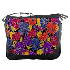 Colorful Floral Pattern Background Messenger Bags