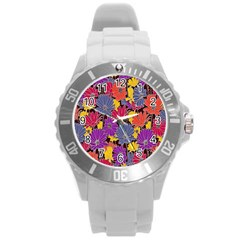 Colorful Floral Pattern Background Round Plastic Sport Watch (l)