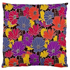 Colorful Floral Pattern Background Large Cushion Case (Two Sides)