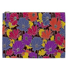 Colorful Floral Pattern Background Cosmetic Bag (xxl)