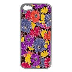 Colorful Floral Pattern Background Apple Iphone 5 Case (silver)