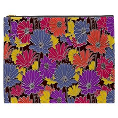 Colorful Floral Pattern Background Cosmetic Bag (xxxl)
