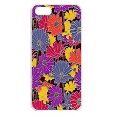 Colorful Floral Pattern Background Apple iPhone 5 Seamless Case (White)