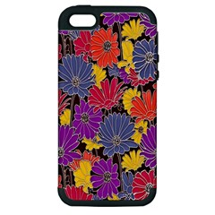 Colorful Floral Pattern Background Apple iPhone 5 Hardshell Case (PC+Silicone)