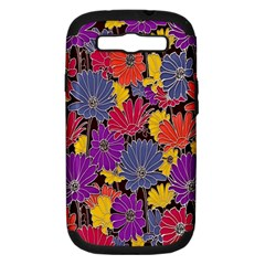 Colorful Floral Pattern Background Samsung Galaxy S III Hardshell Case (PC+Silicone)