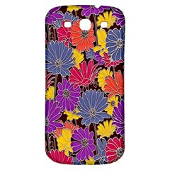 Colorful Floral Pattern Background Samsung Galaxy S3 S III Classic Hardshell Back Case