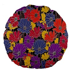 Colorful Floral Pattern Background Large 18  Premium Round Cushions