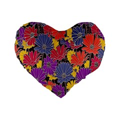 Colorful Floral Pattern Background Standard 16  Premium Heart Shape Cushions
