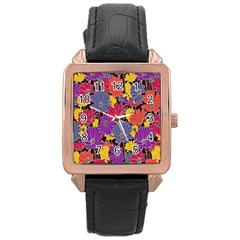 Colorful Floral Pattern Background Rose Gold Leather Watch