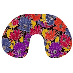 Colorful Floral Pattern Background Travel Neck Pillows