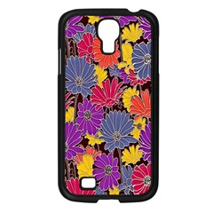 Colorful Floral Pattern Background Samsung Galaxy S4 I9500/ I9505 Case (black)