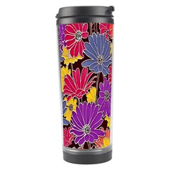 Colorful Floral Pattern Background Travel Tumbler
